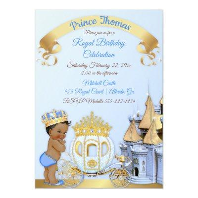 Royal Prince Castle Carriage Blue Gold Boy Photo Invitation