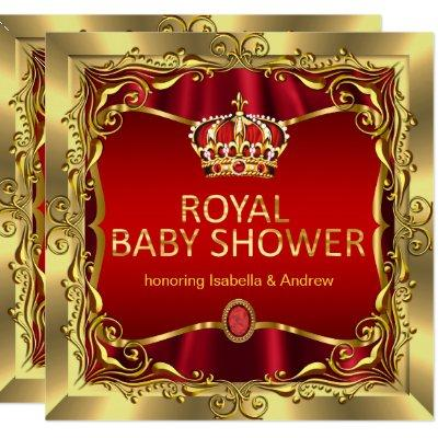 Royal Prince or Princess Baby Shower Red Gold Invitation