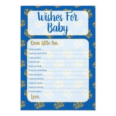 Royal Prince Wishes For Baby Shower Game Blue Invitations