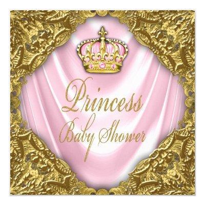 Royal Princess Baby Shower Pink and Gold Satin Invitation