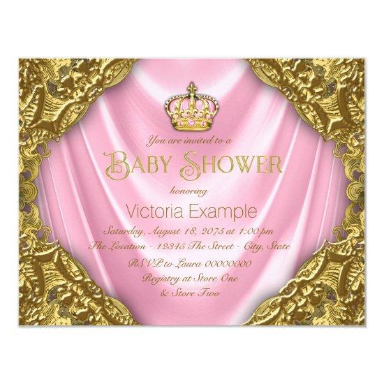 Royal Princess Baby Shower Pink Satin and Gold Card