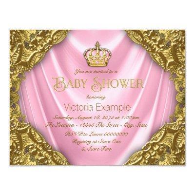 Royal Princess Baby Shower Pink Satin and Gold Invitations