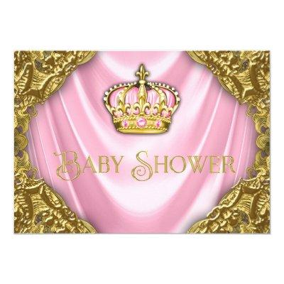 Royal Princess Baby Shower Pink Satin and Gold Invitation