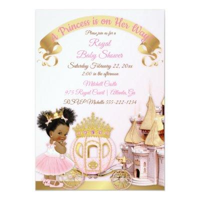 Royal Princess Castle Carriage Pink Gold Girl Invitations