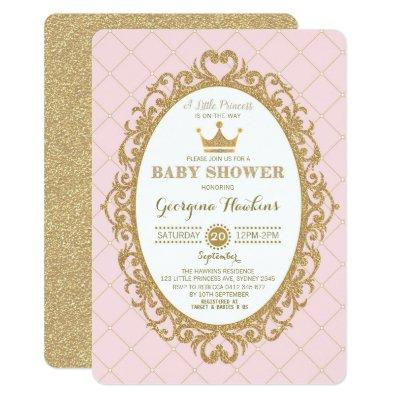 Royal Princess Crown Pink Gold Baby Shower Invite