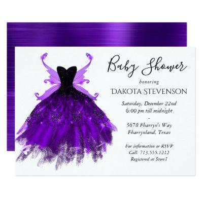 Royal Purple Fairy Wing Ball Gown | Baby Shower Invitation