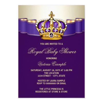 Royal Purple Gold Princess Baby Shower Invitation