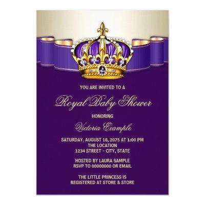 Royal Purple Gold Princess Baby Shower Invitations