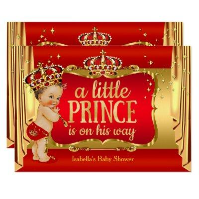 Royal Red Gold Boy Prince Baby Shower Brunette Invitations