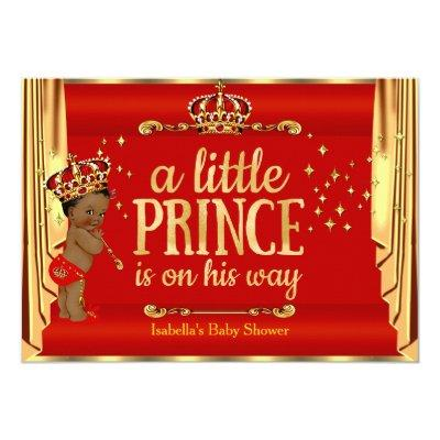 Royal Red Gold Drapes Prince Baby Shower Ethnic Invitations