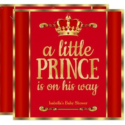 Royal Red Gold Prince is on his way Baby Shower Invitation