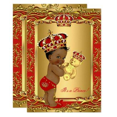 Royal Red Prince Crown Baby Shower Bear Ethnic Invitations