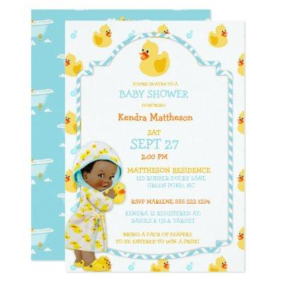 Rubber Duck Ducky African American Gender Neutral Invitations