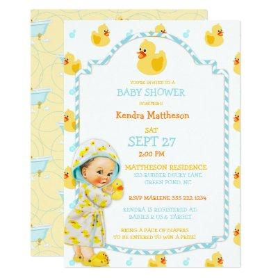 Rubber Duck Ducky Gender Neutral Aqua Yellow Invitations