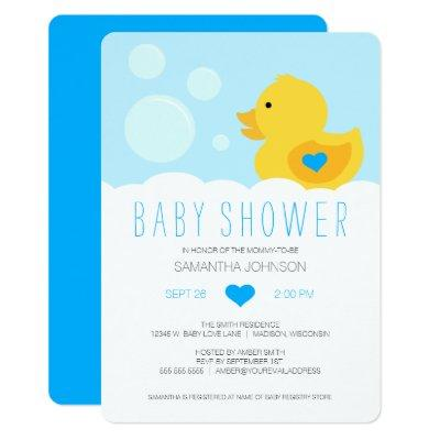 Rubber Ducky Blue Boy Baby Shower Invitations