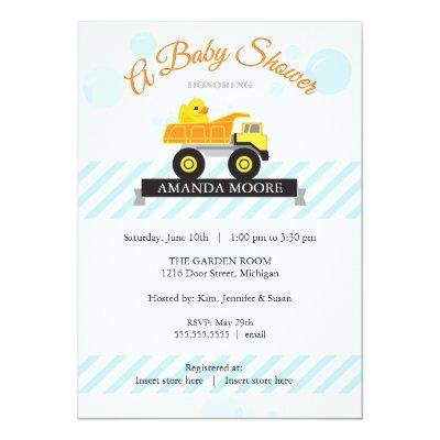 Rubber Ducky Dump Truck Baby Shower Invitations