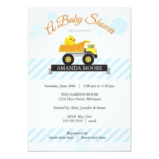 Rubber Ducky Dump Truck Baby Shower Invitations