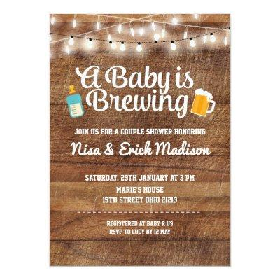 Rustic a baby is brewing Invitations for boy