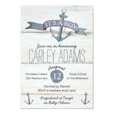 Rustic Adorned with Anchors   Baby Shower Invite