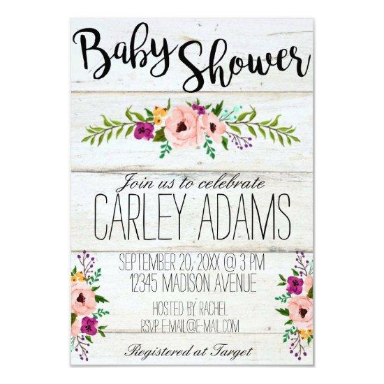 Rustic Adorned with Floral Baby Shower Invite Baby Shower