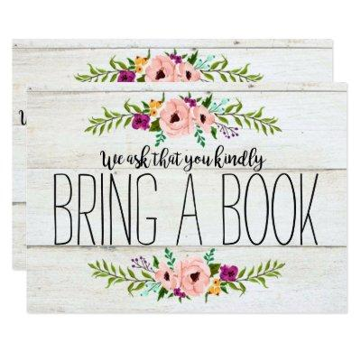 Rustic Adorned with Floral | Bring a Book Invitations