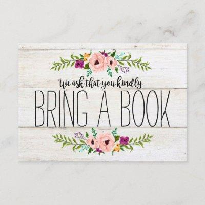 Rustic Adorned with Floral | Bring a Book Enclosure Invitations