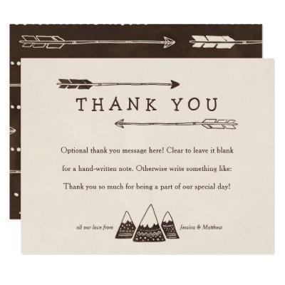 Rustic Adventure Themed Thank You Invitations for Shower