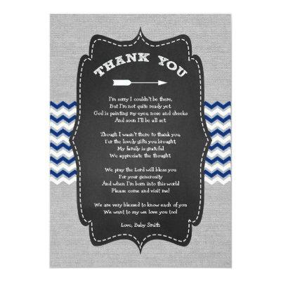 Rustic Arrow Baby Shower Thank you note with poem Invitations