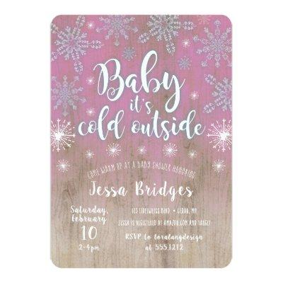 Rustic Baby It's Cold Outside Shower Invitation