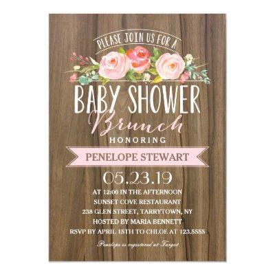 Rustic Baby Shower | Baby Shower Invitations Pink