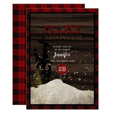 Rustic Baby Shower Buffalo Plaid Deer Snow Modern Invitation