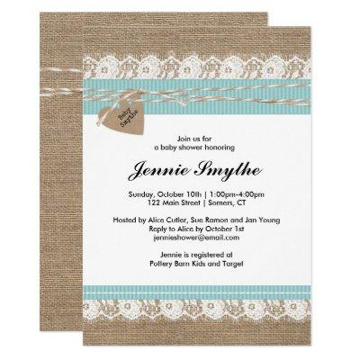 Rustic Baby Shower Invitations, Burlap & Lace Blue Invitations