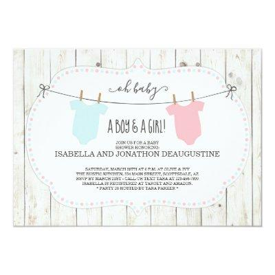 Rustic Baby Shower Invitations for Twins