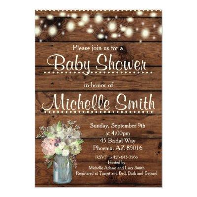 Rustic Baby Shower Invitations, Mason Jar, Floral Invitations