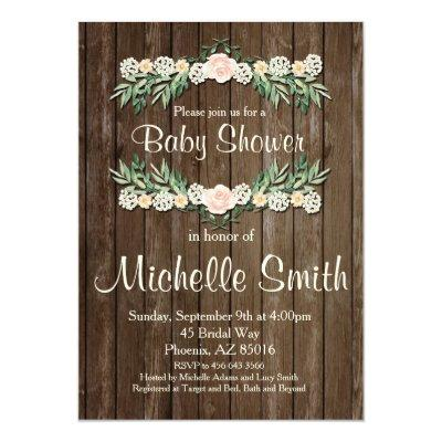rustic invitation rose floral invitations