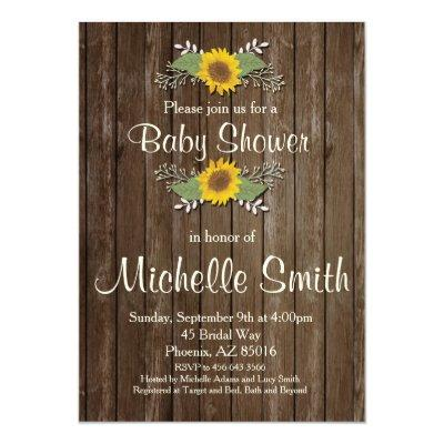 Rustic , Sunflower, Floral Invitations