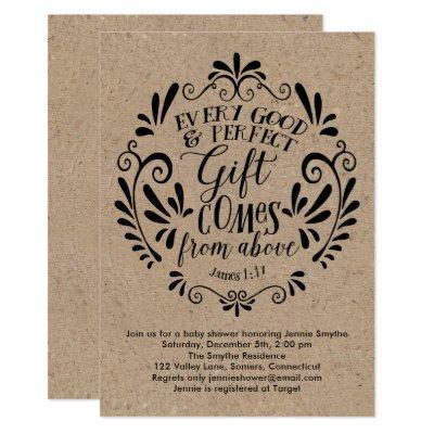 Rustic Baby Shower Invitations, Typography on Kraft Invitations