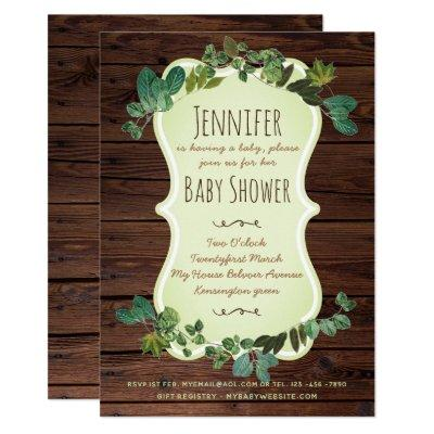 Rustic Baby Shower Invitations Greenery Botanical