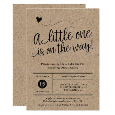 Rustic Baby Shower, Kraft, Gender Neutral Invitation