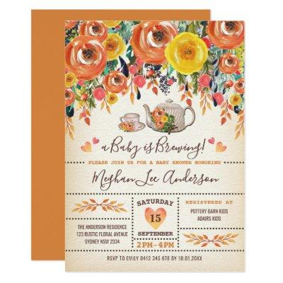 Rustic Baby Shower Tea Party Autumn Fall Flowers Invitation