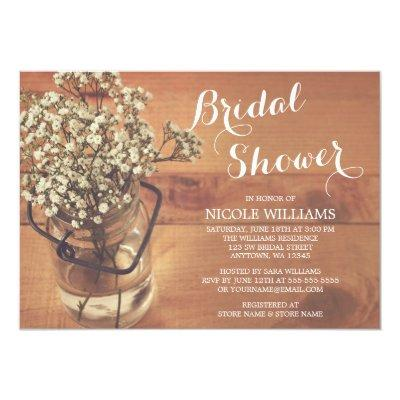 Rustic Baby's Breath Mason Jar Wood Bridal Shower Invitations