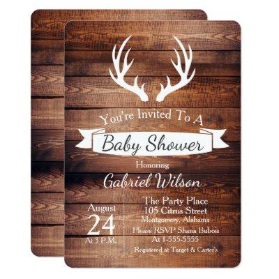 Rustic Barn Wood Antlers White Ribbon Baby Shower Invitation