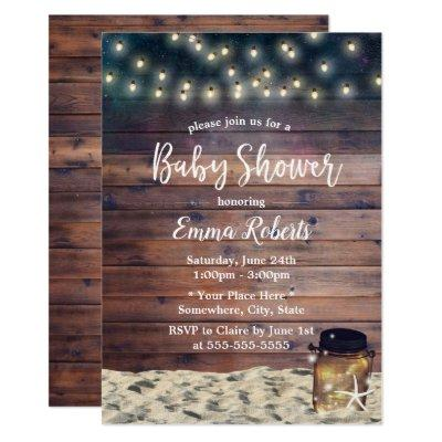 Rustic Beach Starfish Mason Jar Baby Shower Invitation