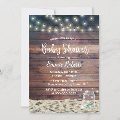 Rustic Beach Starfish String Lights Baby Shower Invitation