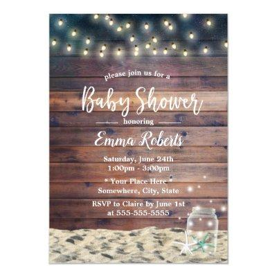 Rustic Beach Starfish String Lights Baby Shower Invitations