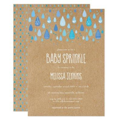 Rustic Blue Raindrops Baby Boy Sprinkle / Shower Invitation