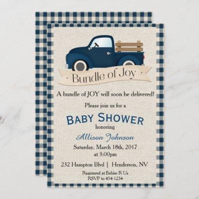 Rustic Blue Truck Baby Shower Invitation