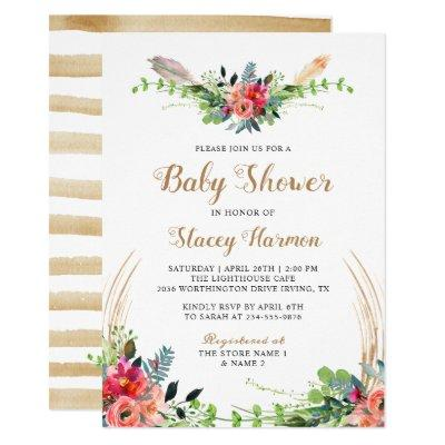 Rustic Bohemian Floral Watercolor Baby Shower Invitation