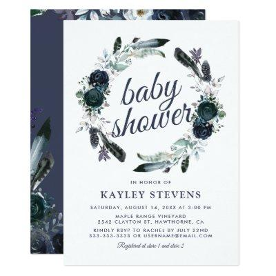 Rustic Boho Boy Blue Floral Baby Shower Invitation