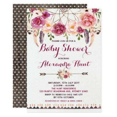 Rustic Boho Dreamcatcher Baby Shower Invitations